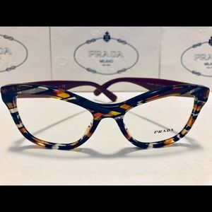 Prada Eyeglasses Tiger Striped Black Cat Eye New